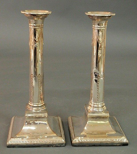 80: Pair of George II Sheffield silverplate candlestic