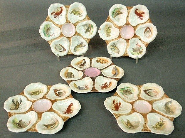 87: Set of five late 19th c. oyster plates with colorf
