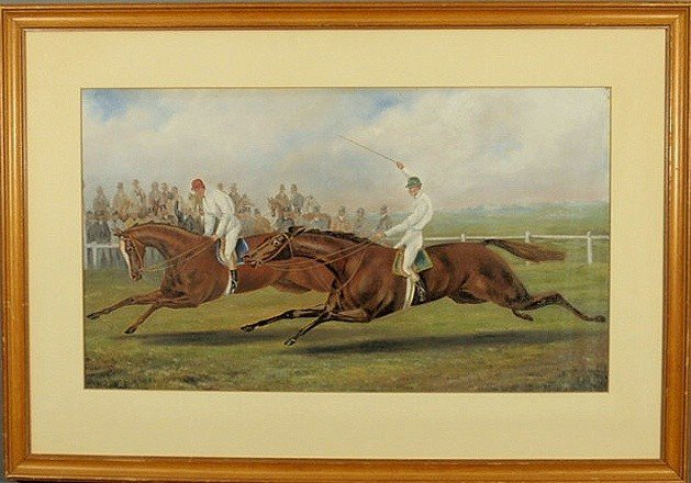 245: Colorful 19th c. gouache of a point-to-point race,
