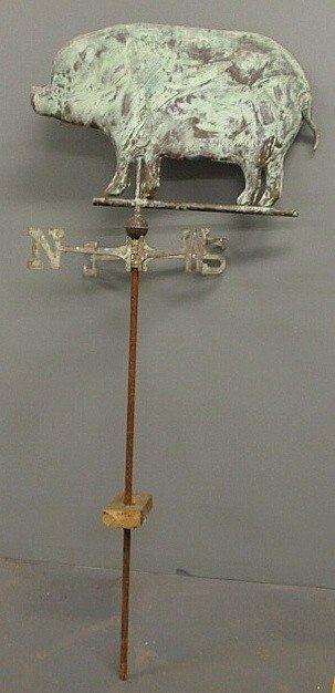 "4: Copper pig weathervane, 20th c. 66""h.x26.5""w."