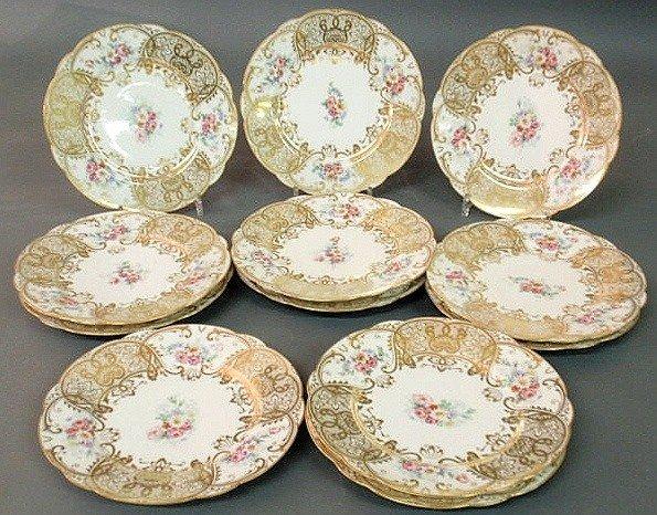 "7: Twelve Limoges china service plates. 10"" dia. Eac"