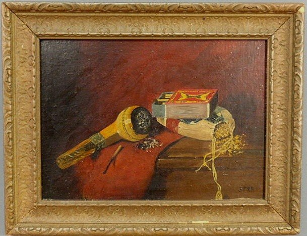 8: Oil on panel still life painting of a pipe, tobac