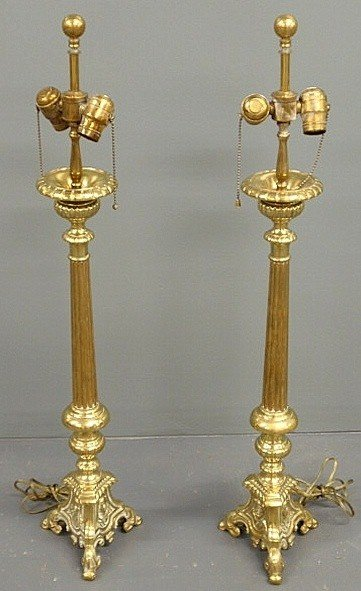 """9: Pair of French style brass table lamps. 35""""h."""
