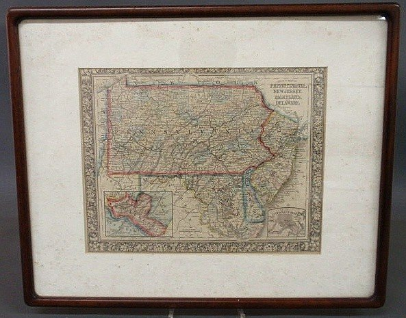 12: Hand-colored map of Pennsylvania, New Jersey, Mar