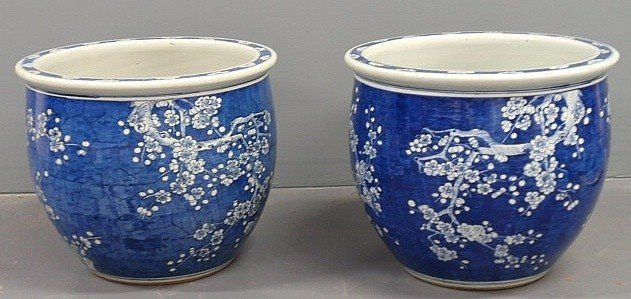 15: Large pair of blue and white porcelain planters,