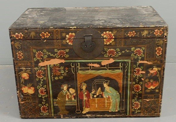 20: Asian storage trunk, late 19th c., with dovetaile