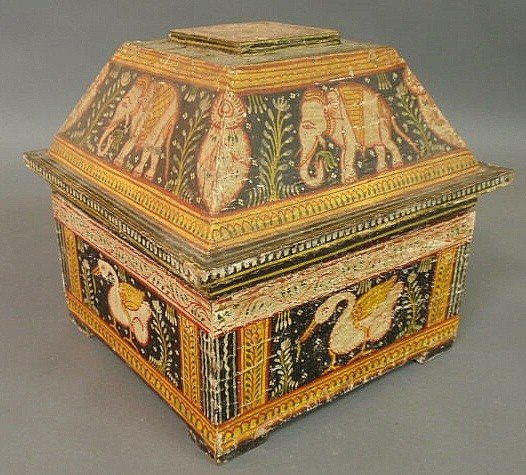 23: Indian wallpapered box, late 19th c., with elepha