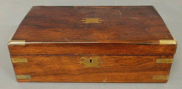 "24: Mahogany brass-bound lap desk, c.1860. 5""h.x16""w."
