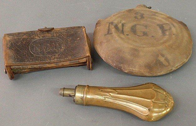 "25: Leather cartridge box ""N.G.P."" (National Guard, P"