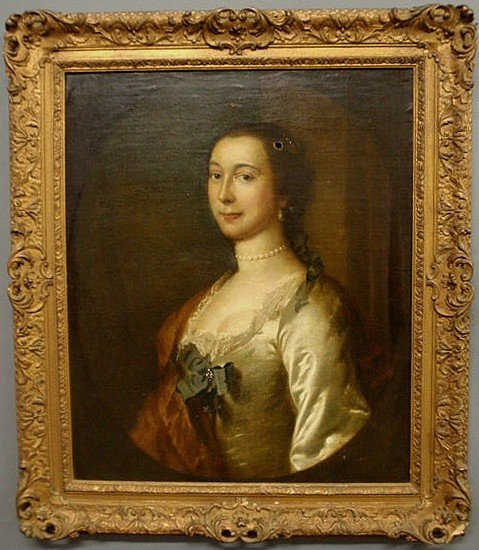 """266: Oil on canvas portrait of a woman signed verso """"S"""