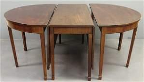 397: Georgian inlaid mahogany three-part banquet table