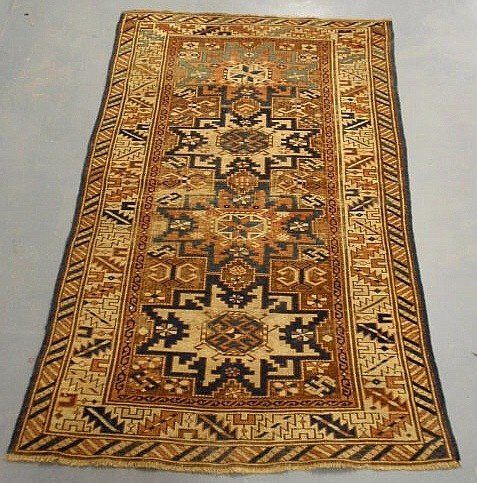 2: Oriental hall mat with overall geometric medallio