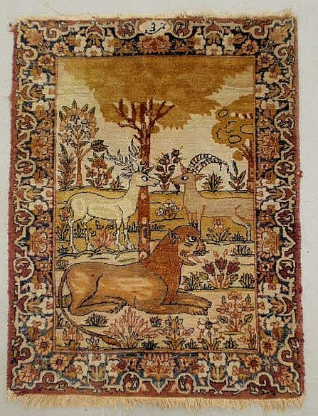"4: Kerman oriental mat with animal motif. 2'10""x2'1"""