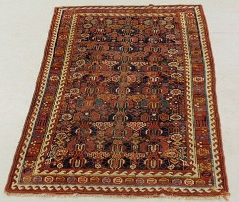 5: Caucasian oriental center hall carpet, ivory bord