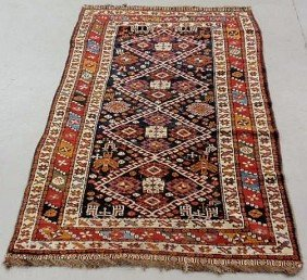 6: Colorful Persian oriental center hall carpet, red