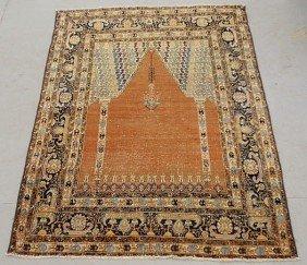 Persian Oriental Prayer Carpet With Orange Field.