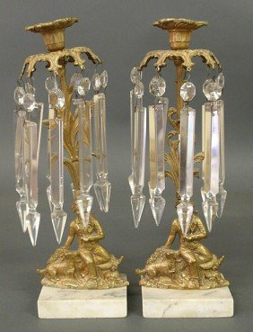 Pair Of Brass Girandoles, Late 19th C., With Seat