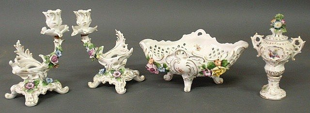 9: Four-piece German porcelain table set with floral