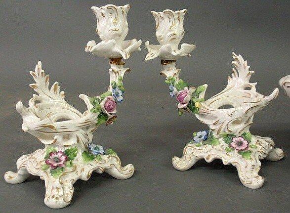 9: Four-piece German porcelain table set with floral - 2