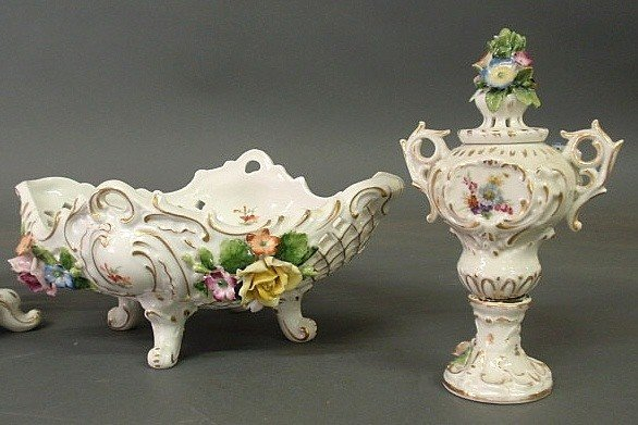 9: Four-piece German porcelain table set with floral - 3