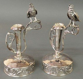 13: Pair of Wilcox Silverplate Co. candlesticks decor