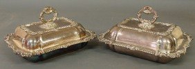 Pair Of Sheffield Covered Vegetable Dishes With G