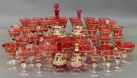 19: Red Venetian glassware service, each with hand-pa