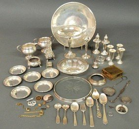 87: Group of sterling silver table articles, some wei