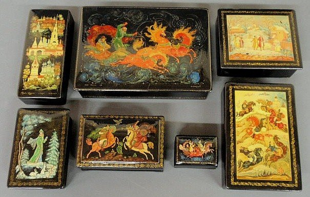202: Seven Russian lacquered boxes, the lids with colo