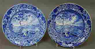 205: Two Historical Blue Staffordshire plates by Stubb