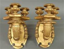 236: Pair of ornately carved sconces with gilt decorat