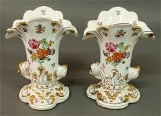 343 Pair of signed Dresden porcelain vases with gilt