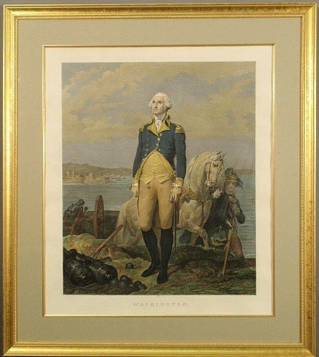 492: Framed and matted print of George Washington titl