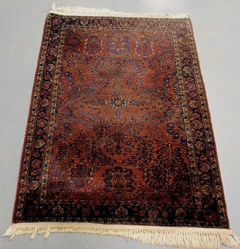 7E: Sarouk oriental hall mat, red field and blue floral