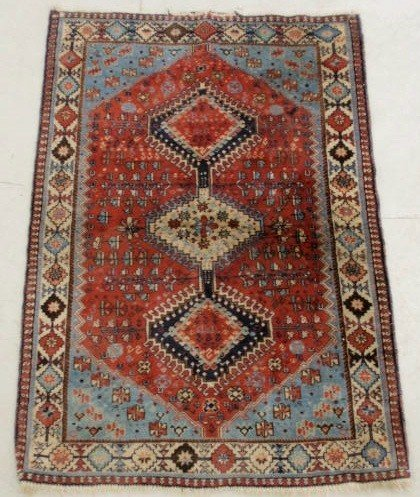 1: Persian oriental mat, red field and three center