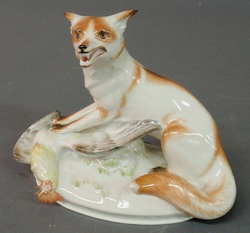 2: Meissen porcelain figural group of a fox and roos
