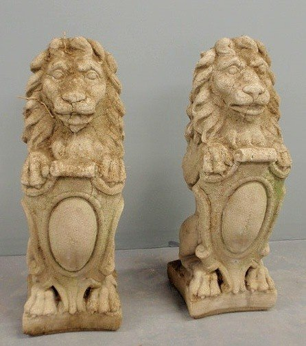 3: Pair of cast stone English style seated lions, c/