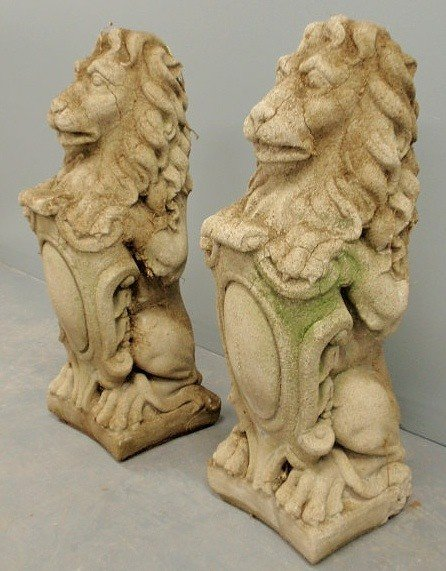 3: Pair of cast stone English style seated lions, c/ - 2