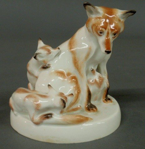4: Meissen porcelain figural group of a vixen and he