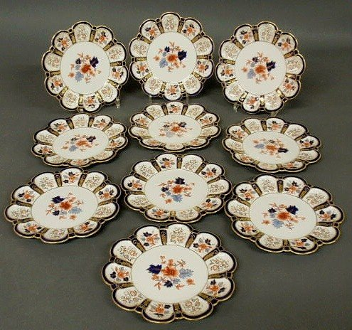 9: Set of ten Royal Crown Derby plates with colorful