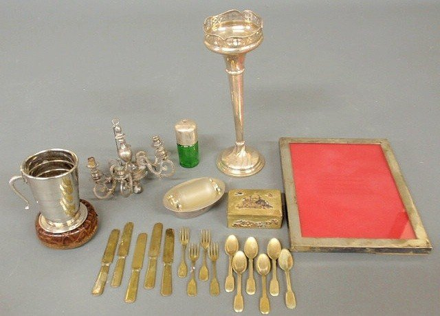 12: Misc. grouping to include a silverplate bud vase