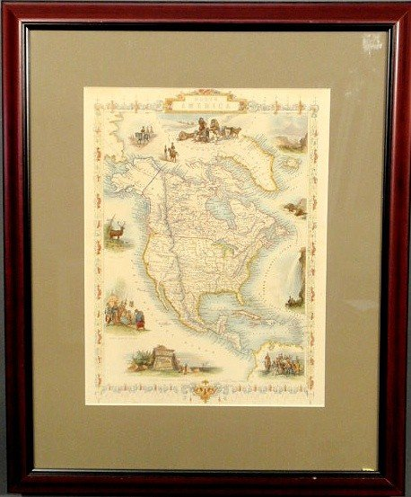 21: Hand-colored map of North America by Tallis, c.18