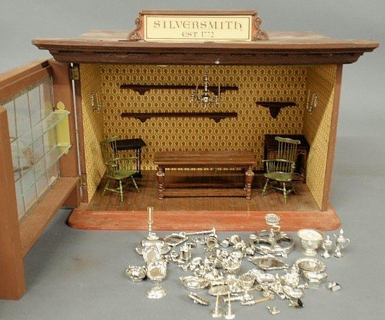 "129: Metal and wood toy Colonial ""Silversmith Shop"" wi - 3"