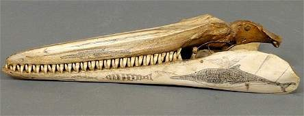 401: Scrimshaw porpoise jaw with carved harpoon and se