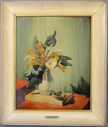 """442: Oil on artist board still life painting titled """"A"""
