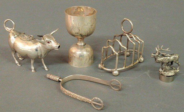 497: Group of  five sterling and Continental silver it