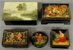 "627: Five Russian lacquerware boxes, largest 1.75""h.x5"