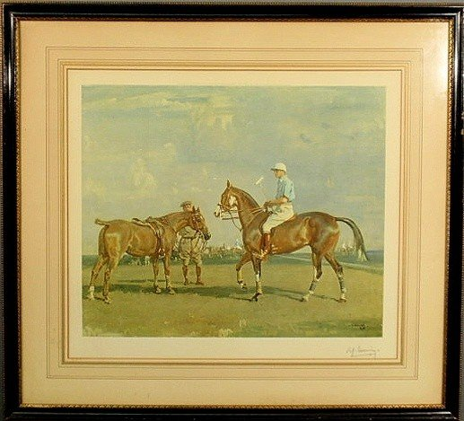 7: Framed and matted Sir Alfred Munnings print, penc