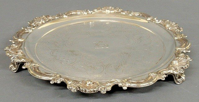 13: Chippendale style silverplate salver with a shell