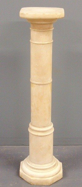 "18: Alabaster pedestal with a rotating top. 39""h., to"